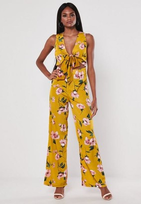 Missguided Floral Print Wide Leg Playsuit