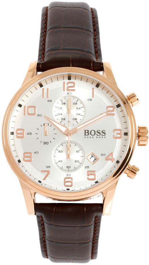 HUGO BOSS Leather Brown Chronograph Watch