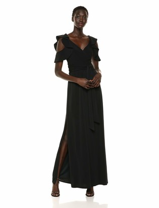 Halston Women's Flutter Cold Shoulder V-Neck Jersey Gown