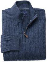 Charles Tyrwhitt Indigo Cotton Cashmere Cable Zip Neck Jumper Size XXL