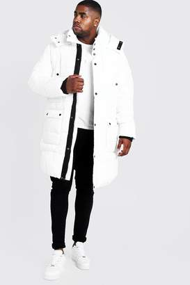 BoohoomanBoohooMAN Mens White Big & Tall Hand Filled Longline Arctic Puffer, White