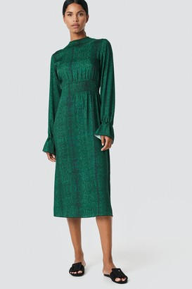 NA-KD Ruched Detail Midi Dress Green