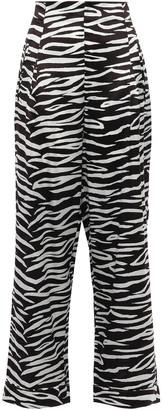 Ganni Blakely Zebra-print Stretch-silk Wide-leg Pants