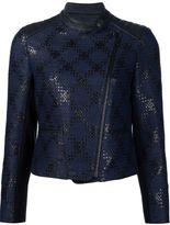 Yigal Azrouel 'Diamond Plaid' biker jacket - women - Lamb Skin - 8