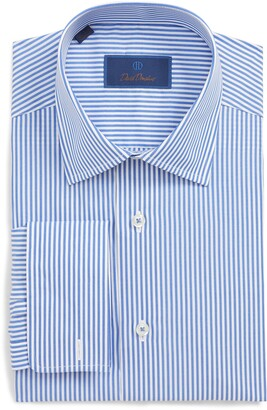 David Donahue Striped French Cuff Regular Fit Dress Shirt