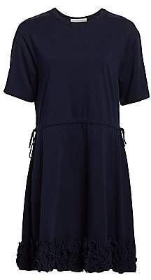See by Chloe Women's Short-Sleeve Ruffle Drawstring A-Line T-Shirt Dress