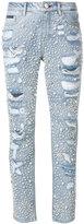 Philipp Plein distressed embellished denim jeans