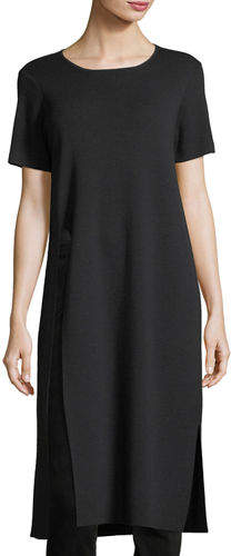 Eileen Fisher Short-Sleeve Washable Wool Crepe Tunic