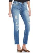 True Religion Sara Destructed Fray Hem Cigarette Cropped Jeans