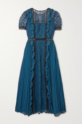 Self-Portrait Ruffled Guipure Lace And Pleated Crepe Midi Dress - Storm blue