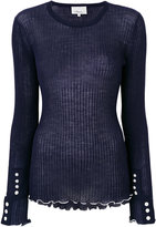 3.1 Phillip Lim frill hem and button detail top - women - Polyamide/Wool - S