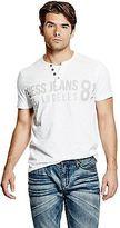 GUESS Men's Laec Short-Sleeve Jersey Henley