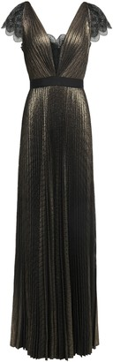 Catherine Deane Novi Lace-trimmed Pleated Lame Gown