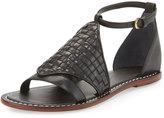 Bernardo Carrie Woven Leather Sandal, Black