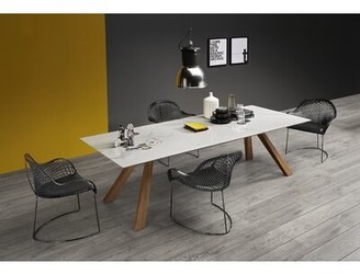 """LG Electronics Midj Zeus Dining Table with Ceramic Top Midj Color: Ceramic With Effect Calacatta Marble, Size: 29.9"""" H x 78.7"""" W x 39.4"""" D"""