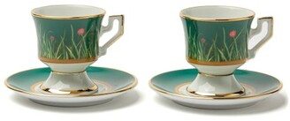 La DoubleJ Floral And Ladybird-painted Espresso Cup Set - Womens - Green Multi