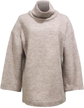 Keegan Mushroom Roll Neck Jumper In Beige Wool Blend