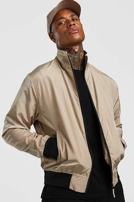 BEIGE BoohoomanBoohooMAN Mens Nylon Collared Bomber Jacket,