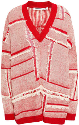McQ Frayed Patchwork-effect Linen And Cotton-blend Sweater