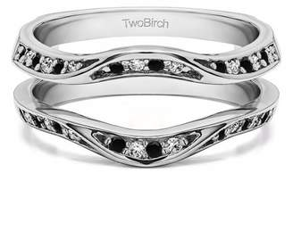 Twobirch Fancy Classic Style Contour Ring Guard Enhancer Wedding Band in Sterling Silver (0.44ctw)