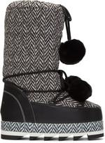 Dolce & Gabbana Black & White Fur Pom Pom Moon Boots