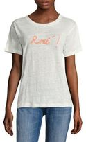 Banner Day Embroidered Rose Linen Tee