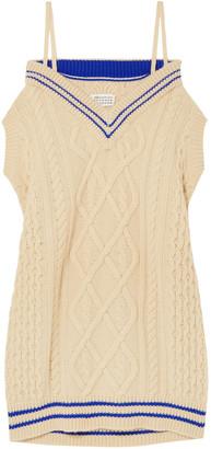 Maison Margiela Off-the-shoulder Oversized Cable-knit Wool-blend Mini Dress