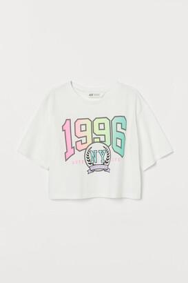 H&M Cropped printed T-shirt