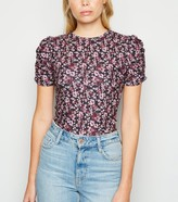 New Look Burgundy Floral Ribbed Ruched Sleeve T-Shirt