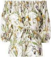 Alexander McQueen floral print off the shoulder blouse