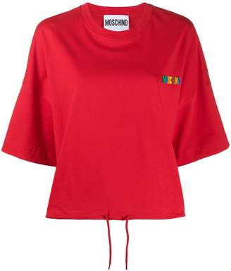 Moschino rubber logo drawstring T-shirt