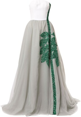 Saiid Kobeisy Embroidered Strapless Dress
