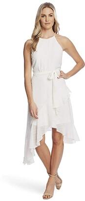 CeCe Sleeveless Clip Dot Cascading Ruffle Dress (Soft Ecru) Women's Clothing