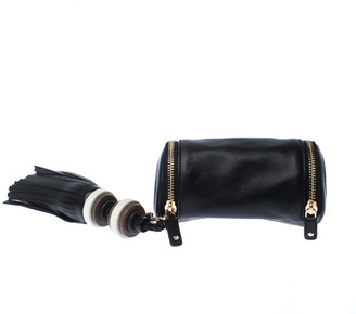 Anya Hindmarch Black Leather Cylinder All Sorts Wristlet Clutch
