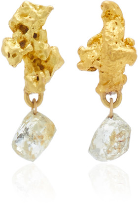 Lisa Eisner One of a Kind Baroque 22K Gold Nugget & Raw Diamond Drop Earrings