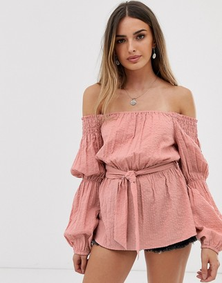 Asos Design DESIGN long sleeve off the shoulder top in textured fabric with belt detail-Pink