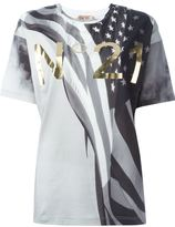 No.21 USA flag print T-shirt
