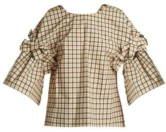 Fendi Bow-embellished Check Top - Womens - Pink Multi
