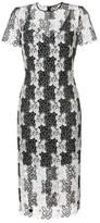 Diane von Furstenberg Fitted Lace Dress - Black White / US 12 - UK 16