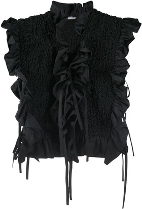 Cecilie Bahnsen Ruffle-Trimmed Textured Top