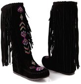 YE Women's Mid Heel Platform Wedge Round Toe Fringe Mid Calf Boots With Tassels Autumn Winte Fashion Height Increasing Shoes
