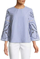 Tanya Taylor Martine Floral Embroidered 3/4-Sleeve Blouse