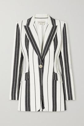 Alexander McQueen Striped Linen And Cotton-blend Blazer - Ivory
