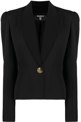 Balmain Padded-Shoulder Single-Breasted Blazer