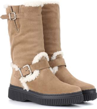 Tod's Fur-lined suede boots