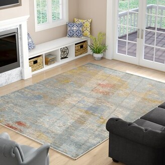 Carrera Exquisite Rugs Hand Woven Silk Sky Blue/Gold Area Rug Exquisite Rugs Rug Size: Rectangle 6' x 9'