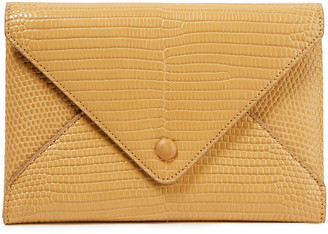 The Row Envelope Croc-effect Leather Clutch