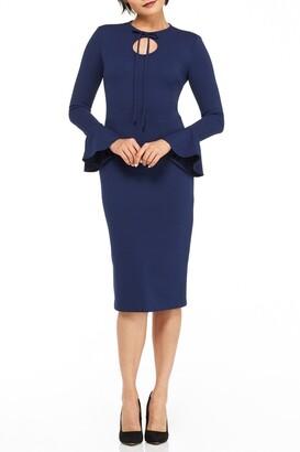 Maggy London Joanna Bell Sleeve Cutout Midi Dress