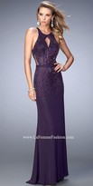 La Femme Cascading Rhinestones Open Back Evening Dress