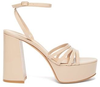 Gianvito Rossi Angelica 70 Patent-leather Platform Sandals - Nude